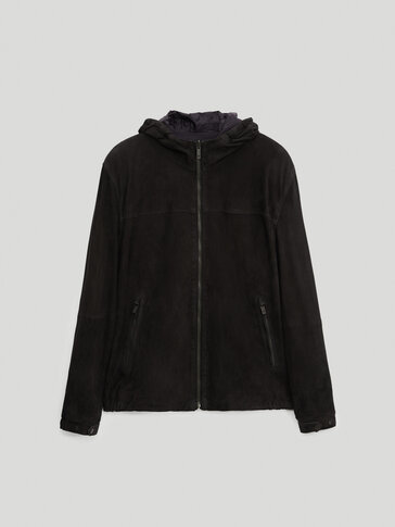 Reversible suede jacket with hood
