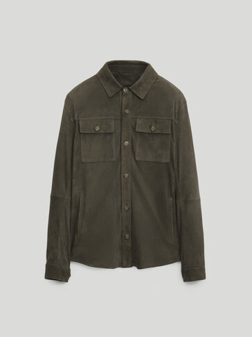 Leather suede overshirt with nappa interior