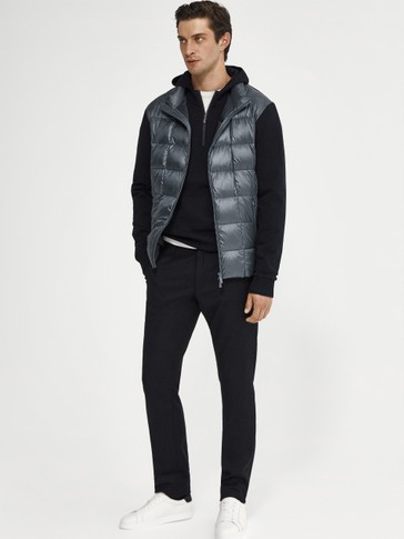 Contrast knit down jacket