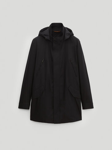 Navy blue long parka