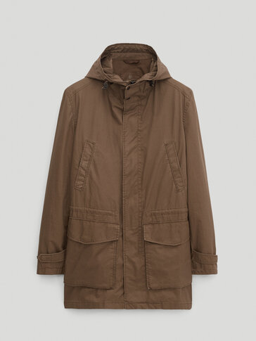 Technical parka with hood