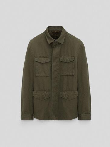 Sobrecamisa bolsillos algodón lino