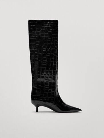 Black animal print mid-heel leather boots