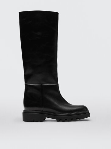 Black leather boots with super track sole