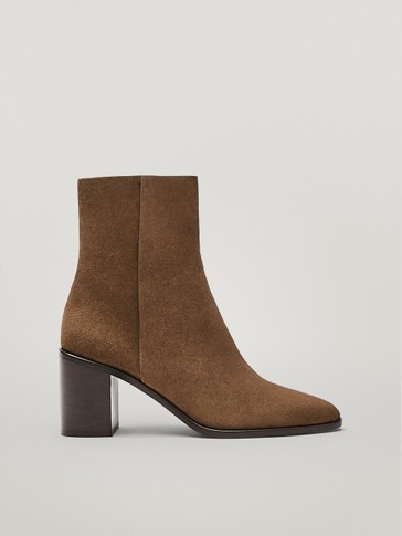 Brown heeled split suede leather ankle boots