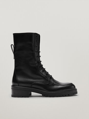 Black lace-up leather ankle boots with moc toe detail