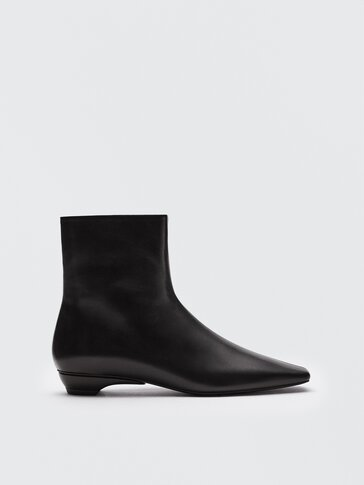 Leather square-toe ankle boots