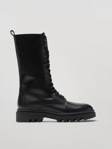 حذاء برقبة عالية من الجلد أسود بأربطة