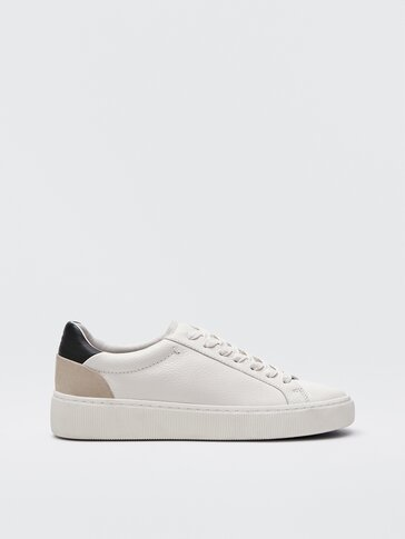 Nappa leather trainers with contrast heel