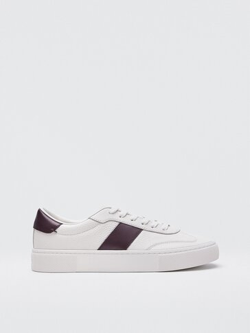 Leather trainers with burgundy side stripe