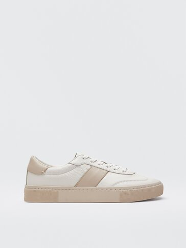 Leather trainers with beige side stripe
