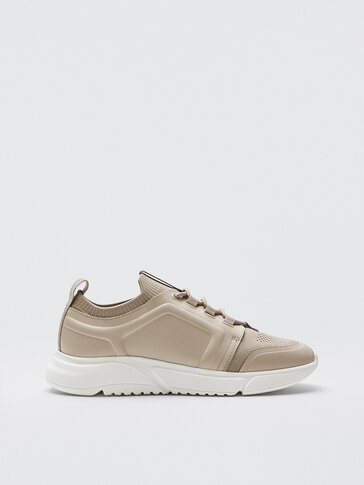 Ecru leather trainers with sock detail