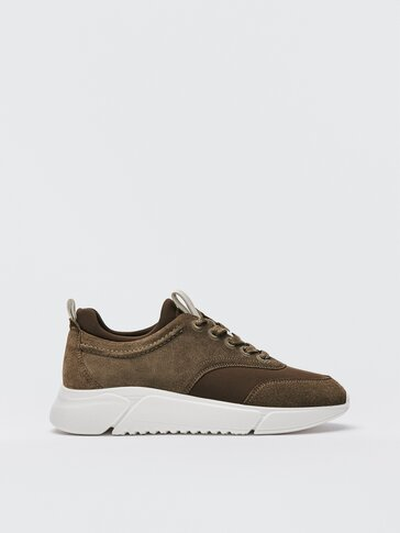 Khaki leather trainers with sock detail