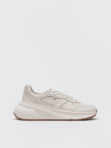 Monochrome cream-coloured leather trainers