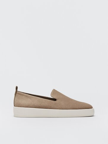 Sand-coloured rubber-sole loafers