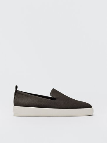 Grey rubber-sole loafers
