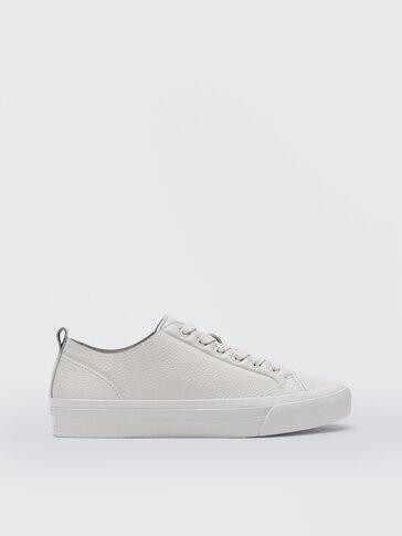 Ecru nappa leather trainers