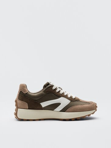 Khaki contrast piece leather trainers