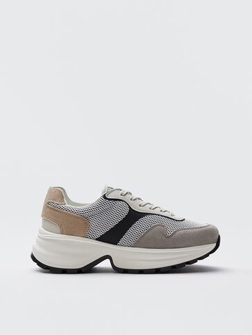 Mesh trainers with contrast heels