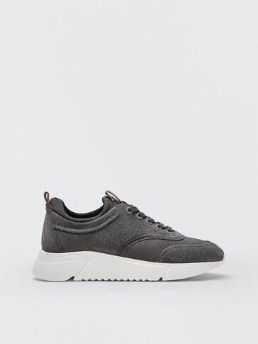 Leather trainers with sock detail grey