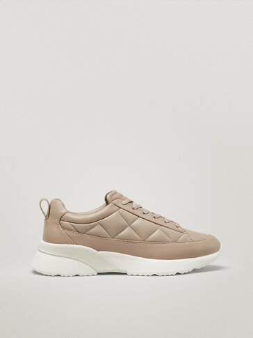 Padded brown leather trainers