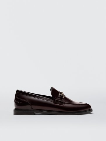 Burgundy leather loafers with saddle strap