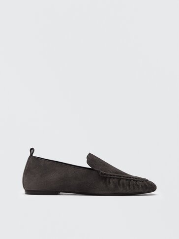 Grey leather loafers with gathered detail