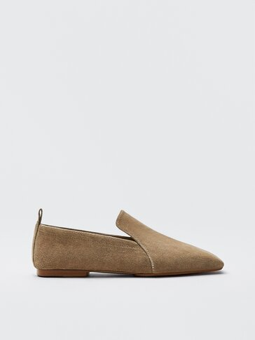 Sand-coloured split suede leather loafers