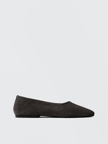 GREY SOFT LEATHER BALLET FLATS