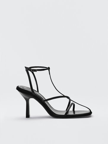 Black leather heeled sandals Limited Edition