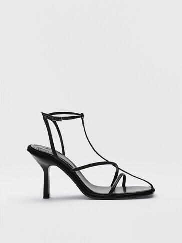 Черные босоножки из кожи на каблуке, Limited Edition