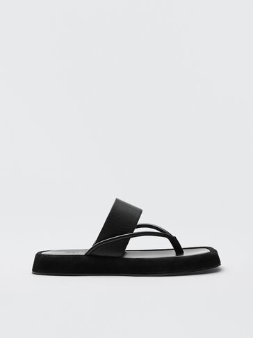 Black leather platform sandals