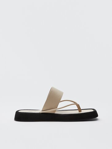 Ecru leather platform sandals