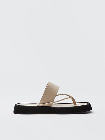 Sandalia de piel plataforma crudo Limited Edition