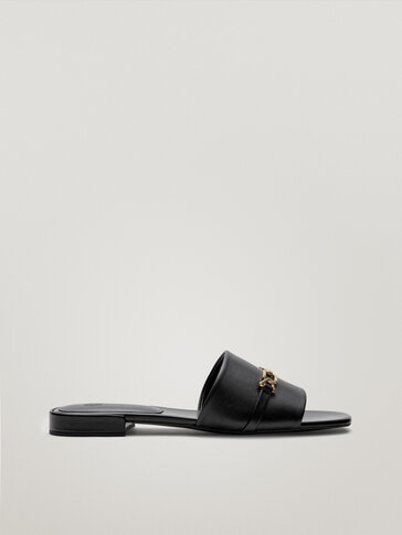 Black leather sandals with buckle detail