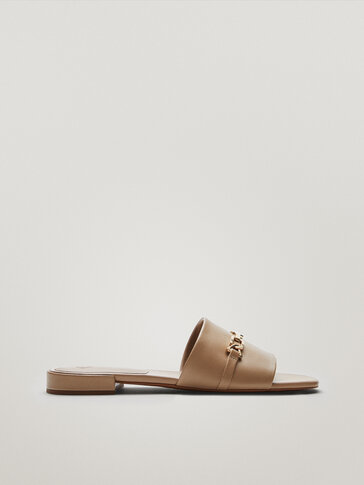 Camel-coloured leather sandals with buckle detail