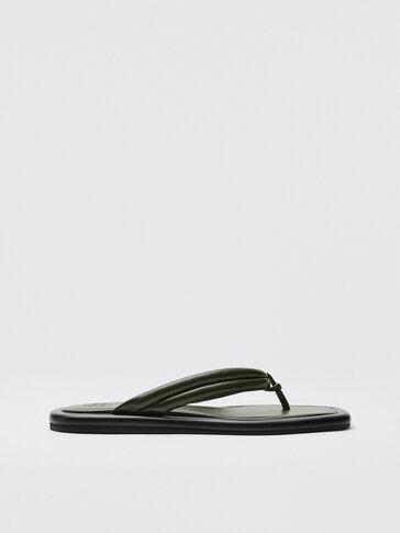 Khaki zelené prešívané sandále z kože