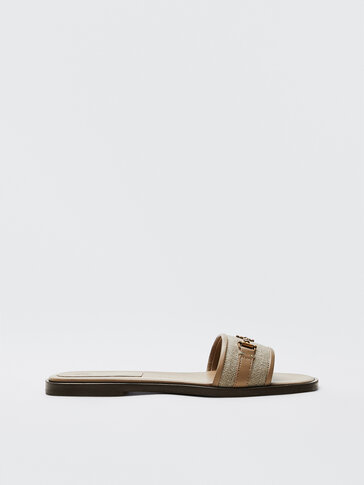 BROWN SLIDE SANDALS WITH BUCKLE AND TRIM