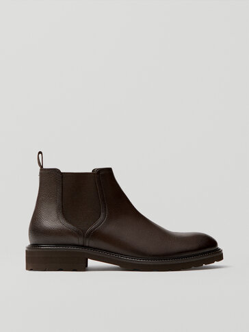Brown leather ankle boots with elastic detail