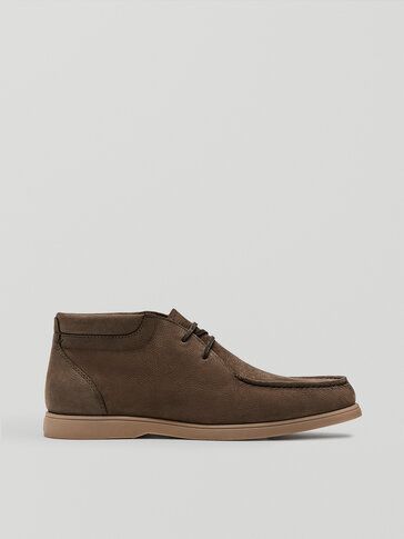 Brown nubuck leather high-top deck shoes