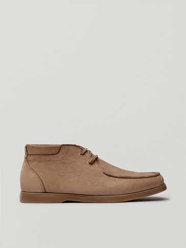 Sand-coloured nubuck leather high-top deck shoes