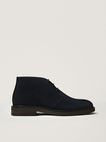 Blue split suede safari boots