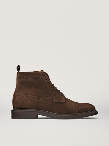 Perforated brown split suede leather boots