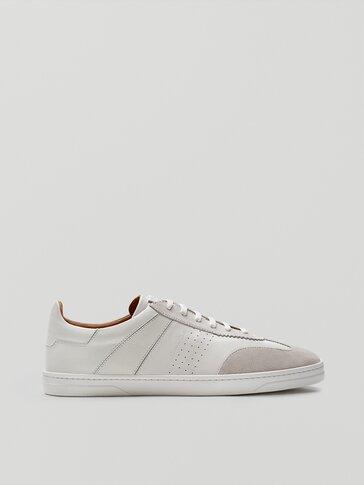 Sepatu kets kulit lembut warna putih