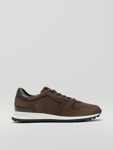 Brown contrast leather trainers
