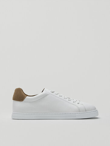 Leather trainers with sand heel tab detail