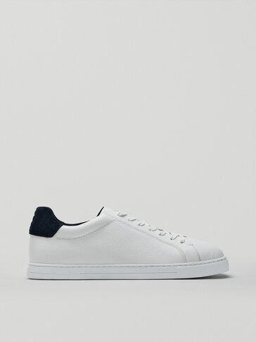 Leather trainers with blue heel tab detail