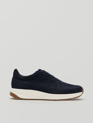 Темно-синие кожаные кроссовки из нубука