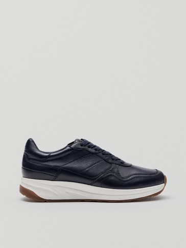 Blue nappa leather trainers