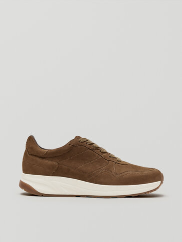 Taupe nubuck leather trainers